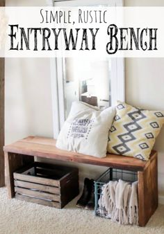 Step by Step Tutorial to Build this Rustic Entryway Bench! Building this bench couldn't be more simple and the end result is awesome! From www.overthebigmoon.com!