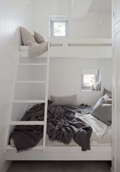 perfect loft bed solution for small spaces. Photo: Home Adore Bunk Beds With Stairs, Kids Bunk Beds, Bunk Beds For Adults, Adult Bunk Beds, Dream Bedroom, Home Bedroom, Attic Bedrooms, Kids Bedroom, Small Space Living