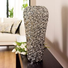 rose ceramic vase large chrome - dwell
