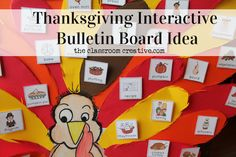 Interactive Thanksgiving bulletin board idea with a *free* turkey template.