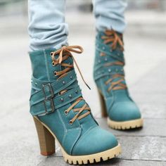 Women Buckle High Heels Ankle Boots