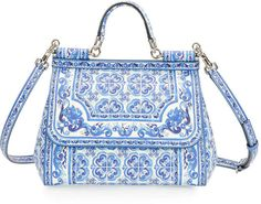 Dolce & Gabbana Miss Sicily Floral-Print Satchel Bag. Maybe too much to pay for a knitting bag ...