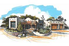 Adobe / Southwestern Style House Plan - 3 Beds 2 Baths 2438 Sq/Ft Plan Ex. Texas Style Homes, Spanish Style Homes, Mexican Home Design, Spanish Style Bathrooms, Mexico House, Santa Fe Style, Adobe House, Desert Homes, Mediterranean Homes