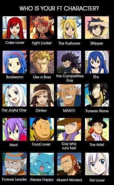 Cake lover (Ezra), Bookworm (levy), the competitive guy (Gajeel), shy (Wendy), nerd, guy who runs fast, the artist, pet lover (lisanna)