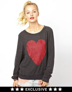 Wildfox Sparkle Heart Sweatshirt Exclusive To ASOS