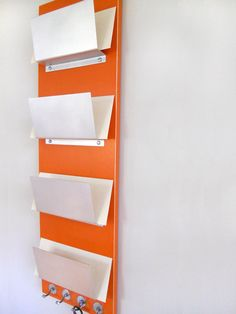 Pamphlet Display in Reception Area (WHITE no key hooks) PEKOE orange modern wall mount mail organization by PIGandFiSH