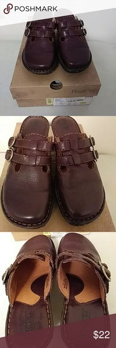 Ladies shoes Pretty maroon color this is a comfortable slip on shoe with buckles across the front and it has a wedge heel very little wear gently worn. The color is definitely maroon not red maroon was not a choice in the colors. born Shoes Mules & Clogs