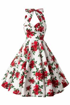 Bunny - 50s Retro Halter Cannes Roses Dress in White