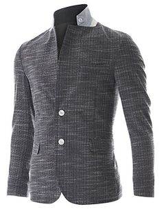 FLATSEVEN Mens Slim Fit 2 Button Stand Collar Single Breasted Linen blazer Jacket (BJ252) Navy, M FLATSEVEN http://www.amazon.co.uk/dp/B00NPWVAJ0/ref=cm_sw_r_pi_dp_PCQkub05KQ69N