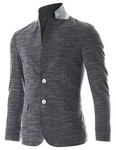 FLATSEVEN Mens Slim Fit 2 Button Stand Collar Single Breasted Linen blazer Jacket (BJ252) Navy, M FLATSEVEN http://www.amazon.co.uk/dp/B00NPWVAJ0/ref=cm_sw_r_pi_dp_PCQkub05KQ69N