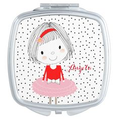 Such a cute pocket mirror with a cartoon style illustration of a pretty little girl. So easy to customize with a personal name; making it an ideal gift idea. #cute #girly #little #girl #pretty #cartoon-girl #whimsy #whimsical #adorable #girls #pocket-mirrors #compact-mirror #fashion-accessories #spots #polka #dot