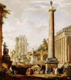 Roman landscape with Trajans column. 1725-50. Giovanni Paolo Pannini. Italian. 1691-1765. oil on canvas. http://hadrian6.tumblr.com