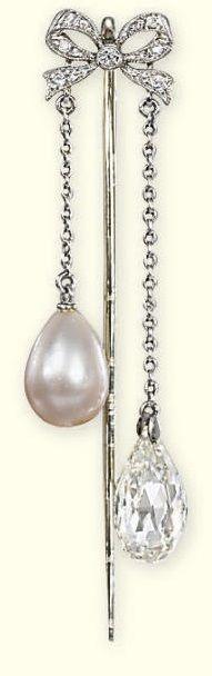 A BELLE EPOQUE PEARL AND DIAMOND PIN BROOCH. The small single-cut diamond bow suspending a drop-shaped pearl and a briolette-cut diamond, pearl untested, circa 1905. #BelleÉpoque #pin #brooch