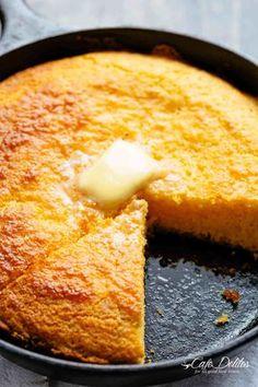 Buttery moist cornbread with a fluffy centre, crisp edges and the perfect crumb! #cornbread #cornmeal #butter #skillet #castiron