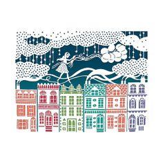 Rooftop Balloons Multicolor Print - Original Papercut Illustration - 8x10 Fine Art Print