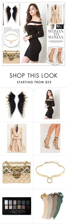 """""""fashion look"""" by melanimely ❤ liked on Polyvore featuring Missguided, Chanel, Alexis Bittar, Maybelline and Gucci"""