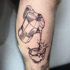 Bialetti, Coffee Tattoos, Black And Grey Tattoos, Tattoo Studio, New Tattoos, Blackwork, Tattoo Artists, Piercings, Skull