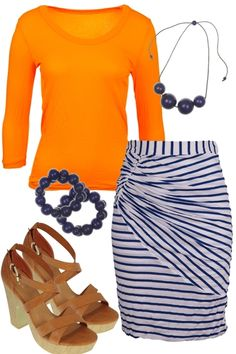 Love, love, love this skirt! The ruching and gather look so flattering. Another great work outfit but I would have to pair it with a different colored top. Orange is not my color.
