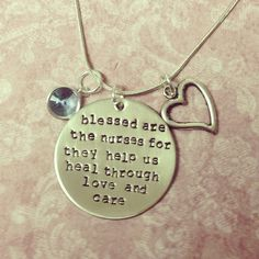 Hand stamped metal jewelry nurse saying necklace with charms on Etsy, $18.00