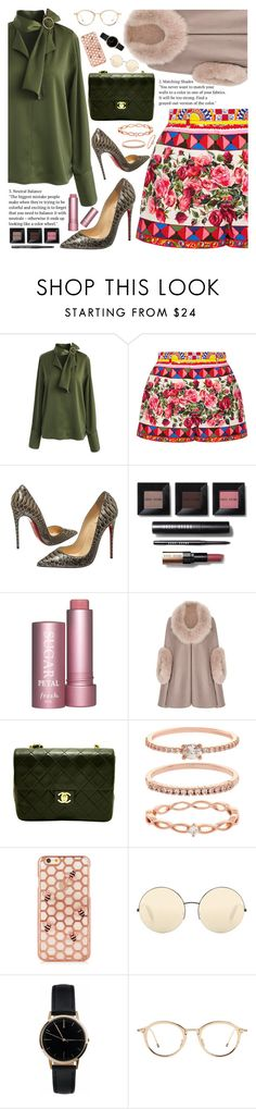 """Untitled #2136"" by anarita11 ❤ liked on Polyvore featuring Chicwish, Dolce&Gabbana, Christian Louboutin, Bobbi Brown Cosmetics, Chanel, Accessorize, Victoria Beckham and Freedom To Exist"