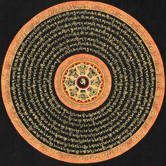 OM (AUM) Mandala with the ASHTAMANGALA (Eight Auspicious Symbols) with the Auspicious Mantras