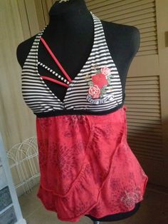 Red Ruffles & Roses Strappy Baby Doll Tie Back Halter Top by Altered St8 Couture on Etsy