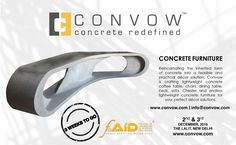 The Count Down Begins for CONVOW Inc. to exhibit its concrete furniture at FOAID Delhi in just 3 weeks, the festival of architecture and interior designing 2016!!