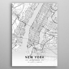 High-quality metal print from amazing City Maps Light collection will bring unique style to your space and will show off your personality. Wall Art Prints, Poster Prints, Framed Prints, Canvas Prints, New York City Map, City Maps, United States Map, State Map, Poster Making