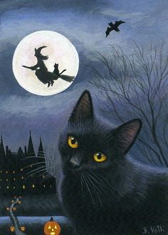 Black cat haunted house & witch - Halloween night