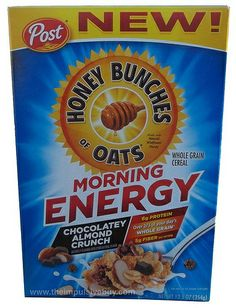 Post Honey Bunches of Oats Morning Energy Chocolatey Almond Crunch Cereal
