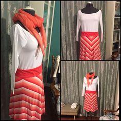 Orange and White Chevron Striped Skirt Super cute Tommy Hilfiger mini-skirt with orange and white chevrons and an orange waistband. Tommy Hilfiger Skirts Mini