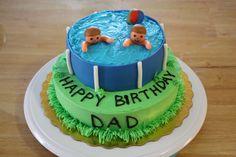 Pool Party Cake Happy Birthday Dad, Birthday Cake, Pool Party Cakes, Party Planning, Cake Decorating, Cake Ideas, Desserts, Party Ideas, Food