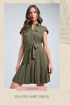 💥 PLEATED SHIRT DRESS No better way to make a carefree-meets-classy statement than with this timeless A Line shirt dress, featuring gentle pleating and a smart utility-inspired motif. #Fashion #Fashionista #outfit #womenswear #womensclothing #clothing #clothes #shoppingonline #chic #apparel #shopping