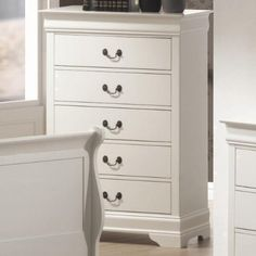 White Wood Louis Philippe 5-Drawer Chest - Coaster 201695