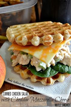 Curried Chicken Salad with Cheddar Mozzarella Cheese Waffle Sandwich.andrew is going to shit his pants when i show him this.he wants to start a restaurant where all the sandwiches are made with waffles. Chicken Salad With Grapes, Chicken Curry Salad, Cheese Waffles, Cheddar Cheese, Crispitos Recipe, Mozzarella, Gourmet Recipes, Cooking Recipes, Brunch Recipes