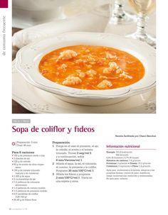 Sopa de coliflor y fideos