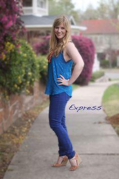 Monochromatic blue (with a pop of orange). Rebecca Taylor. Express. Alexandre Birman.