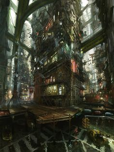 Flooded Chinatown Concept Art by John Liberto