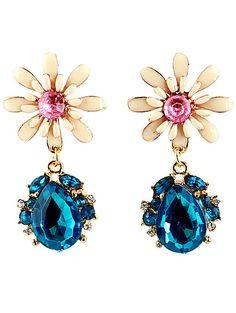 Blue Drop Gemstone Gold Flower Earrings US$6.60