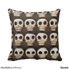Clay Skulls Throw Pillow