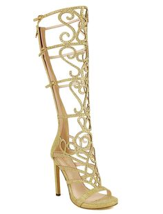 Gold Glitter Strappy Open toe Sandal Knee high Boots Heel Womens shoe US sz 9 Thigh High Sandals, High Heel Boots, Heeled Boots, Gladiator Sandals Heels, Open Toe Sandals, Shoes Heels, Fancy Shoes, Cute Shoes, Me Too Shoes