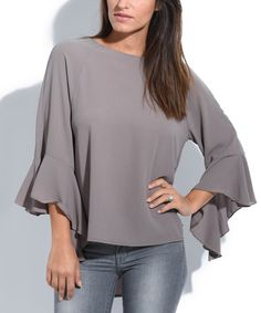 This Taupe Bell-Sleeve Top is perfect! #zulilyfinds