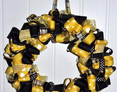 Team Spirit Black and Yellow Ribbon Wreath