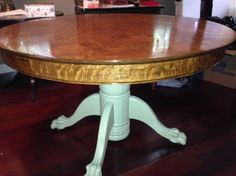 Clawfoot, refinished with tongue oil, flat green Dining Table With Leaf, Tung Oil, English Language, Flats, Antiques, Green, Furniture, Home Decor, Loafers & Slip Ons