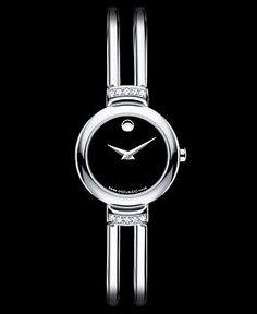 Movado Watch, Women's Swiss Diamond (1/8 ct. t.w.) Stainless Steel Bracelet 23mm 0606239 - Women's Watches - Jewelry & Watches - Macy's
