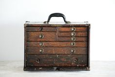 Tool Box, Tool Chest, Antique Tool Box, Machinist Tool Box With All Original…
