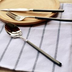 Knife And Fork, Steak Knives, Coffee Spoon, Cutlery, Black Gold, Plating, Handle, Stainless Steel, Store