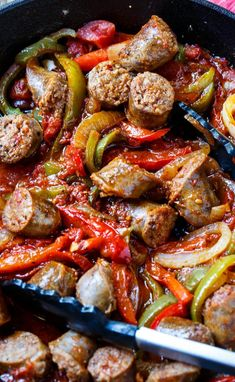 Sausage And Peppers Italian, Sausage And Peppers Crockpot, Sausage Peppers And Onions, Stuffed Peppers, Sausage Meals, Sausage Sauce, Healthy Italian Recipes, Italian Sausage Recipes, Italian Sausage Sandwich