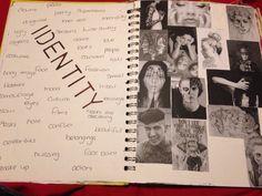 GCSE Identity art sketchbook front page Mind Map Art, Mind Maps, A Level Art Sketchbook, Textiles Sketchbook, Sketchbook Ideas, Inspirational Artwork, Photography Sketchbook, Photography Books, Photography Exhibition