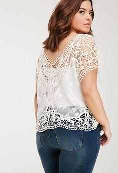 Plus Size FOREVER 21+ Mesh-Paneled Crochet Top